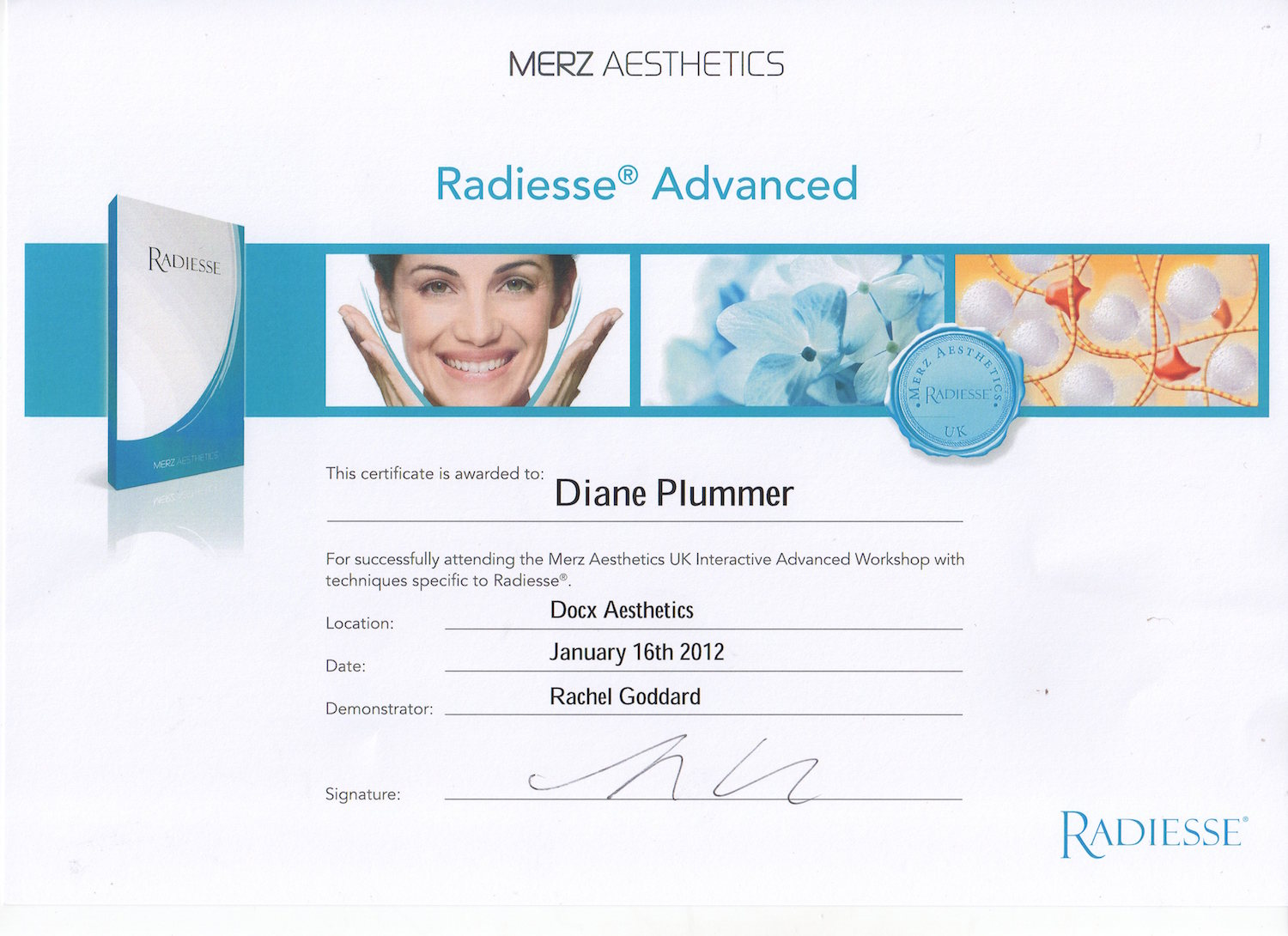 Radiesse Advanced Dermal Fillers certification awarded to Diane Plummer - Revive Aesthetics