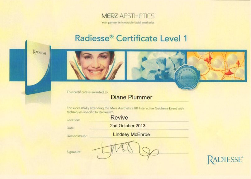 Radiesse Advanced Dermal Fillers certification level 1 awarded to Diane Plummer - Revive Aesthetics
