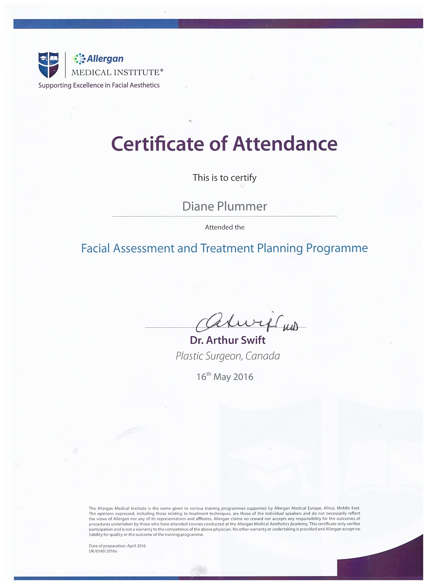 Allergan Medical Institute - Facial Assessment and treatment Planning Programme
