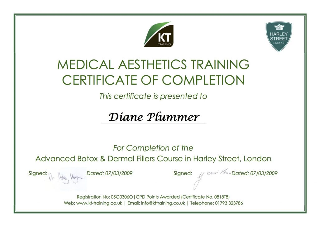 Botox & Dermal Filler Training certificate