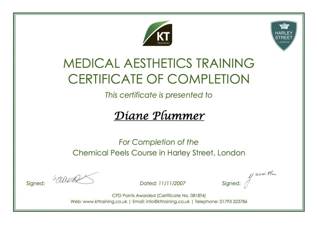 chemical peel training certificate