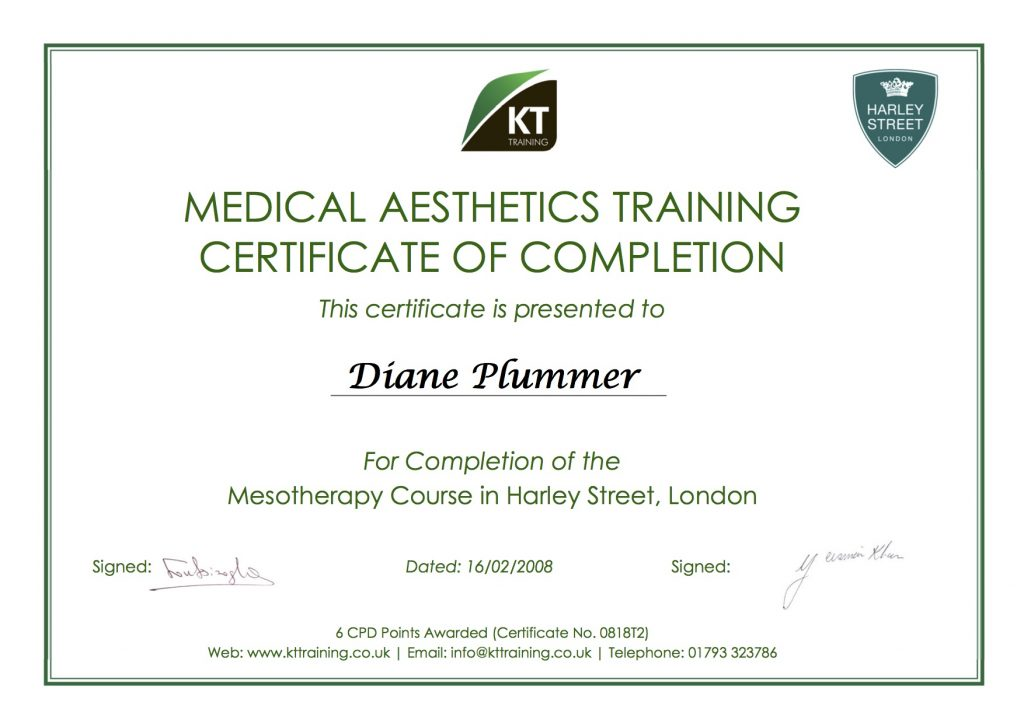 mesotherapy training course certificate - Diane Plummer RGN (BSc) Hons Dip HE INP